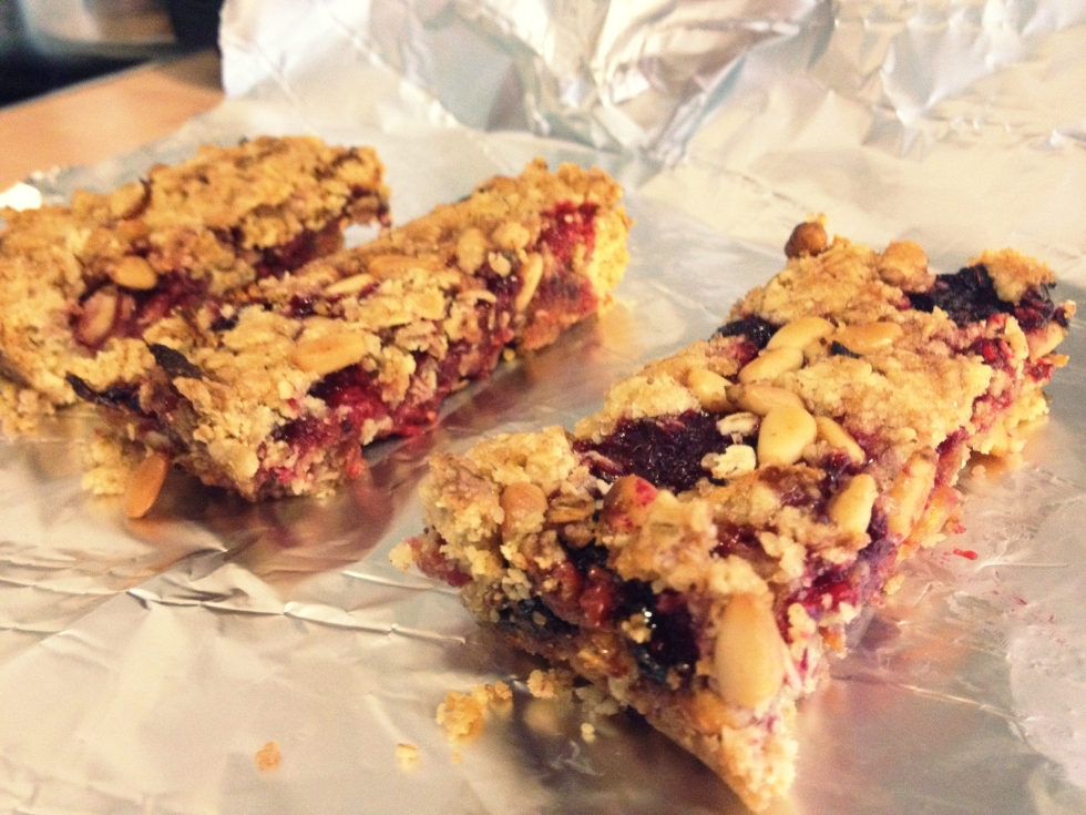 raspberry and pine nut bars