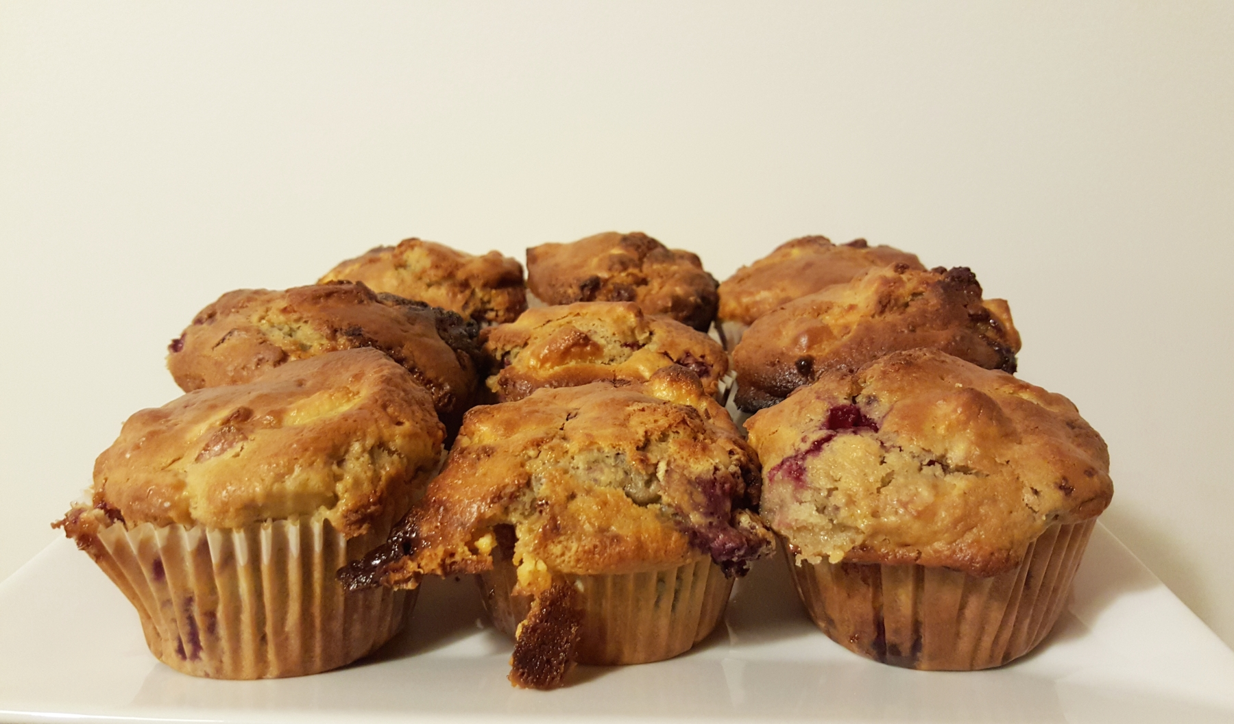 white chocolate raspberry apple muffins 1