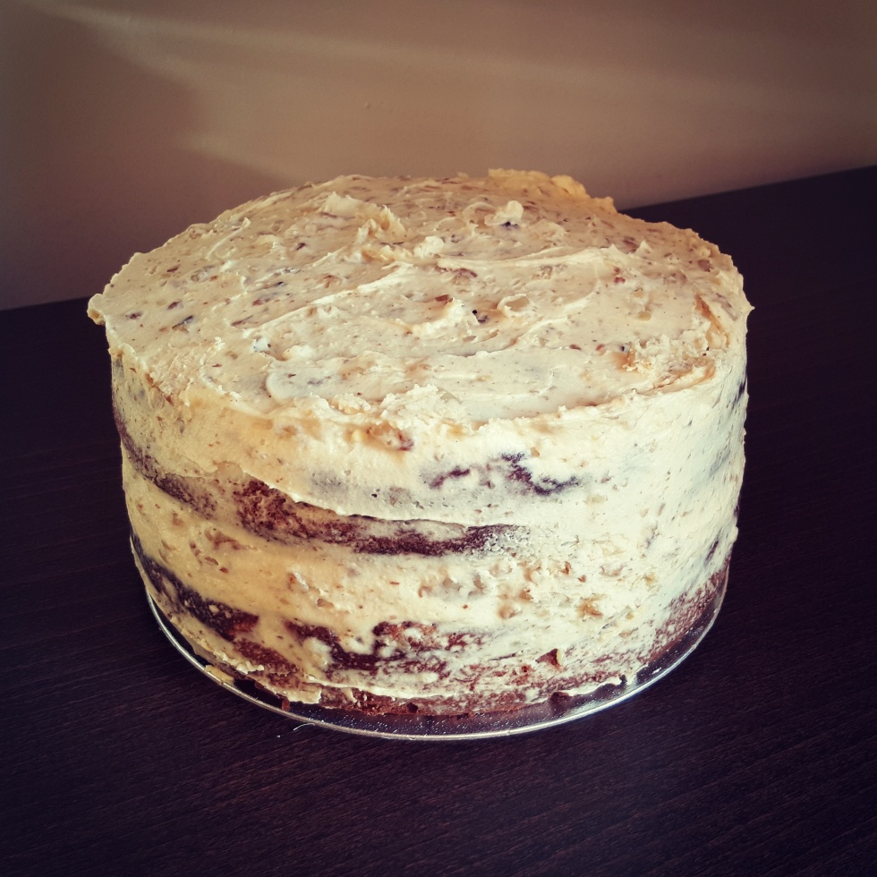 banana cake with walnut buttercream